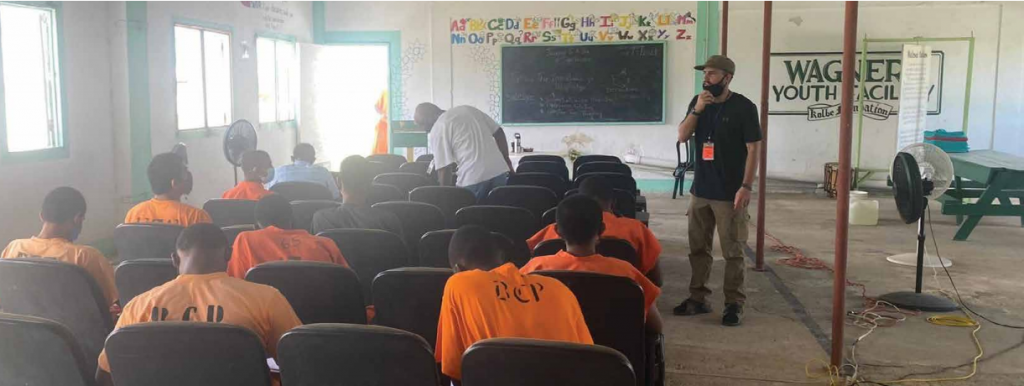 Ian Peoples, SJ, prepares for a prayer service for the young men at Warner's Youth Facility in Belize.