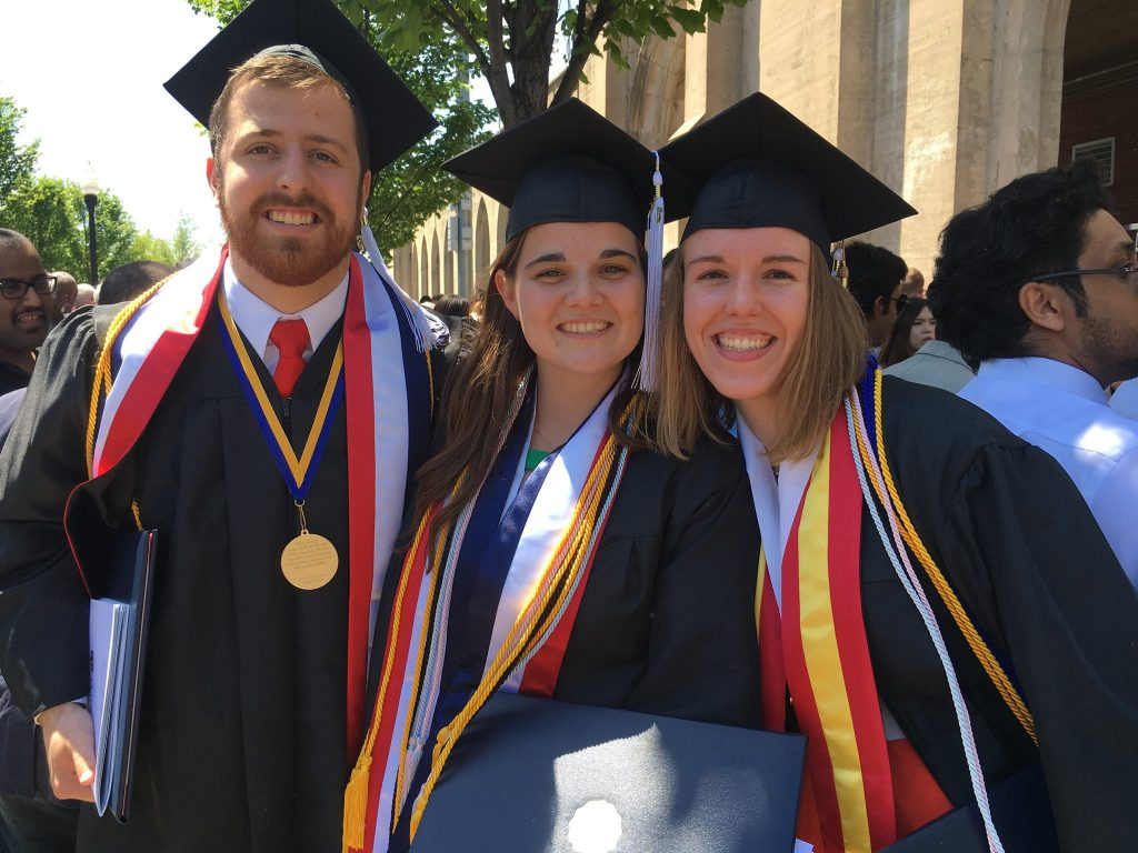 Hinchie at his Tulsa graduation with friends from the Newman Center.